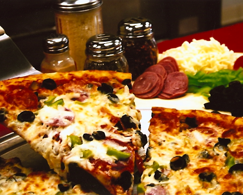 Pizza by the Slice is offered all day long